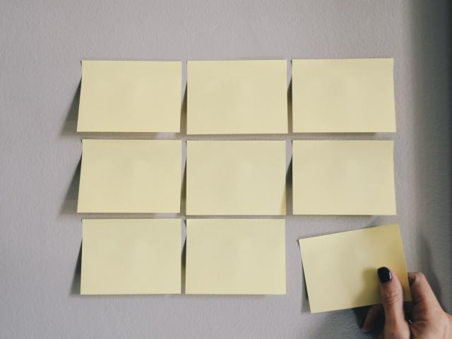 image of sticky notes on wall