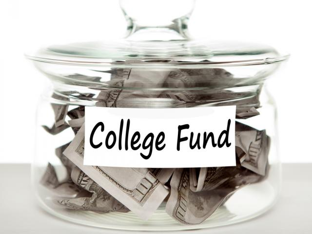 """Jar of money labeled """"college fund"""""""