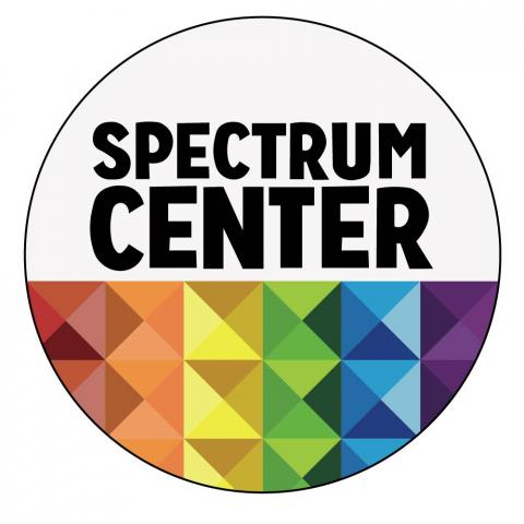 "Image that reads ""Spectrum Center"" with rainbow design under text"