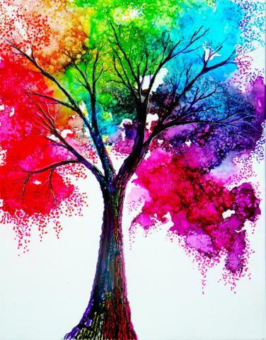 rainbow tree portrait