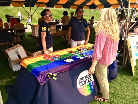 Photo of Spectrum Staff Tabling at Pride Outside