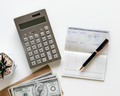 image of calculator and check book