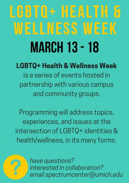 flier for LGBTQ+ Health & Wellness Week - text in content